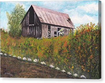 Canvas Print featuring the painting barn Grahamsville NY by Stuart B Yaeger