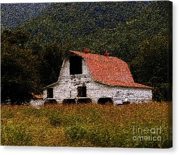 Canvas Print featuring the photograph Barn In Mountains by Lydia Holly