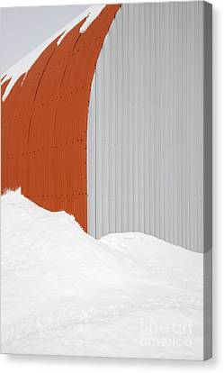 Barn In Snow Canvas Print by Jeremy Woodhouse