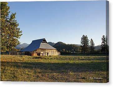 Barn In The Applegate Canvas Print by Mick Anderson