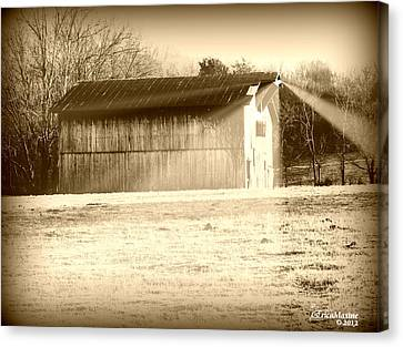 Barn In The Twilight Zone Canvas Print by EricaMaxine  Price