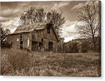 Barn In Turbulent Sky Canvas Print by Douglas Barnett