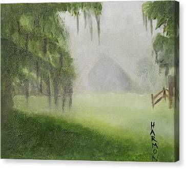 Canvas Print featuring the painting Barn On Foggy Morning by Margaret Harmon
