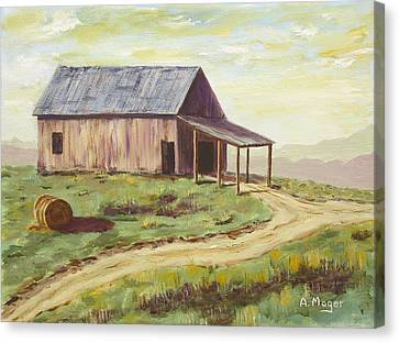 Barn On The Ridge Canvas Print by Alan Mager