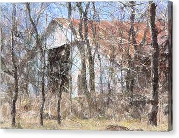 Barn Through Trees Canvas Print