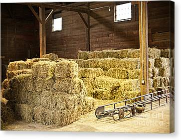 Bales Canvas Print - Barn With Hay Bales by Elena Elisseeva