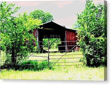Barn Yard Beyond Canvas Print by Sharon Farris