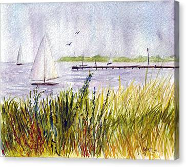 Canvas Print featuring the painting Barnegat Sails by Clara Sue Beym