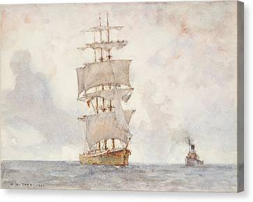 Barque And Tug Canvas Print by Henry Scott Tuke