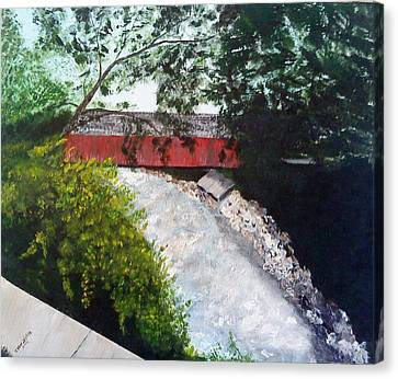 Barrackville Covered Bridge Canvas Print by Carol Van Sickle