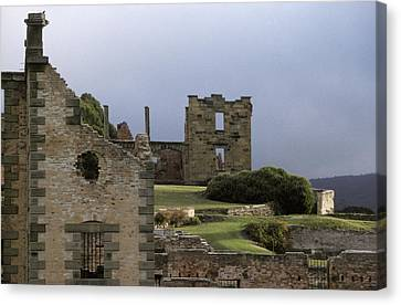 Barred Windows And Stone Ruins At Port Canvas Print by Jason Edwards