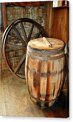 Barrel And Wheel Canvas Print by Marty Koch