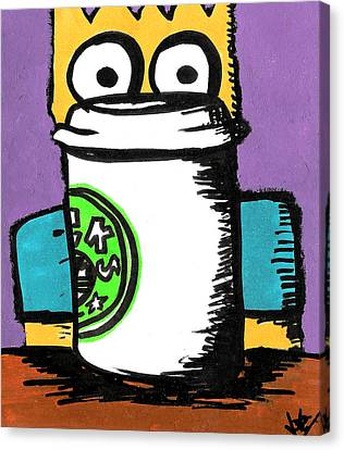 Bart Loves Coffee Canvas Print by Jera Sky