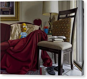 Bart On Couch With Red Blanket Canvas Print by Tony Chimento