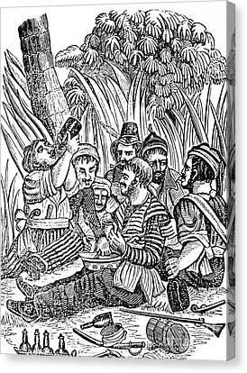 Bartholmew Roberts And Crew Drinking Canvas Print by Photo Researchers