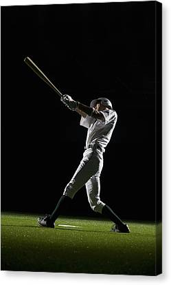 Baseball Batter Swinging Bat, Side View Canvas Print by PM Images