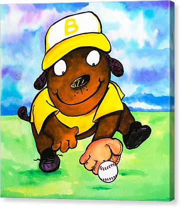 Baseball Dog 3 Canvas Print by Scott Nelson