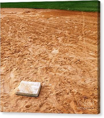 Baseball Field Base Canvas Print by Skip Nall