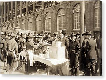 Baseball. Hot Dog Vendors Sell To Fans Canvas Print by Everett