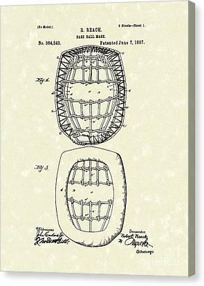 Baseball Mask 1887 Patent Art Canvas Print