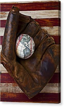 Baseball Mitt With Earth Baseball Canvas Print by Garry Gay
