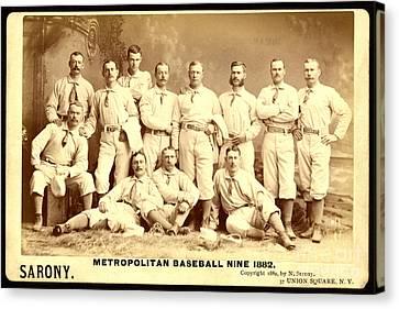 Baseball Panoramic Metropolitan Nine Circa 1882 Canvas Print by Pg Reproductions