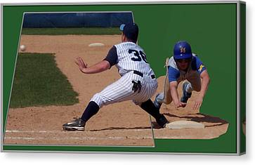 Baseball Pick Off Attempt 02 Canvas Print by Thomas Woolworth
