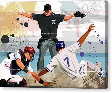 Baseball Player Safe At Home Plate Canvas Print by Greg Paprocki