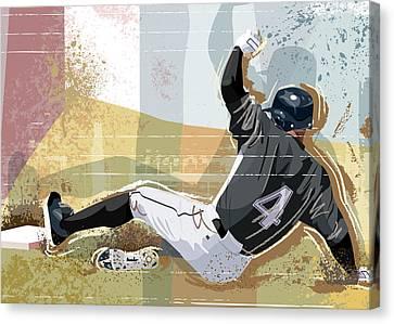 Baseball Player Sliding Into Base Canvas Print by Greg Paprocki