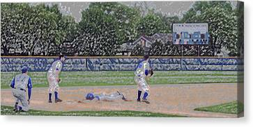 Baseball Playing Hard Digital Art Canvas Print by Thomas Woolworth