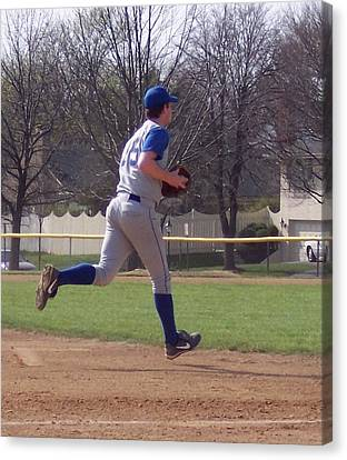 Baseball Step And Throw From Third Base Canvas Print by Thomas Woolworth