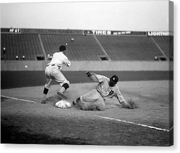 Baseball. Ty Cobb Safe At Third Canvas Print by Everett