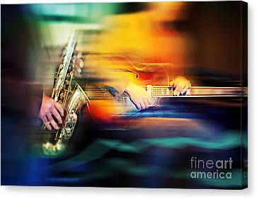 Canvas Print featuring the photograph Basic Jazz Instruments by Ariadna De Raadt