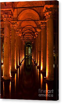 Canvas Print featuring the photograph Basilica Cistern by Leslie Leda