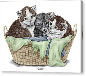 Canvas Print featuring the drawing Basket Of Kittens - Cats Art Print Color Tinted by Kelli Swan