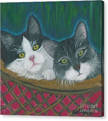 Basket Of Kitties Canvas Print by Ania M Milo