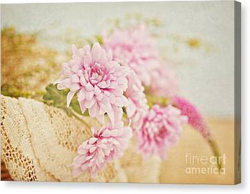 Basket Of Vintage Floral Goodness Canvas Print