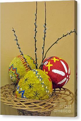 Basket With Papier-mache Eggs Canvas Print
