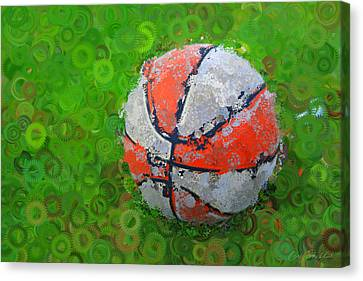 Basketball Orange White Green Abstract Canvas Print by Geoff Strehlow