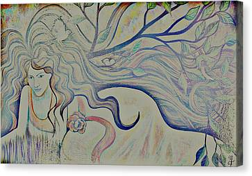 Canvas Print featuring the painting Basking With Birds-distorted by Monica Furlow