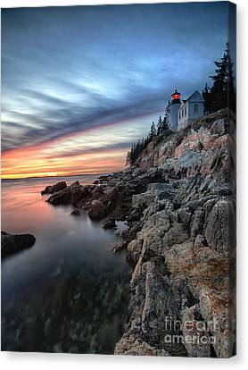 Bass Harbor Head Lighthouse At Sunset Canvas Print by George Oze