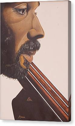 Bass Player Iv Canvas Print by Kaaria Mucherera
