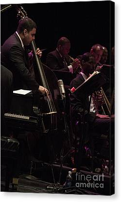 Bass Player Jams Jazz Canvas Print by Darleen Stry