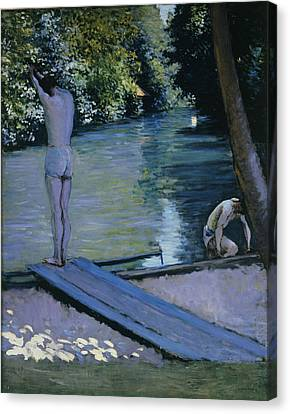 South Of France Canvas Print - Bather About To Plunge Into The River Yerres by Gustave Caillebotte