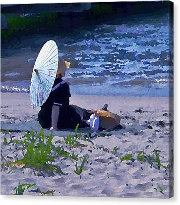 Bather By The Bay - Square Cropping Canvas Print by David Coblitz