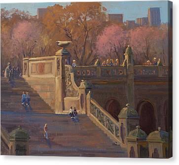 Bathesda Stairway Central Park Canvas Print by Marianne Kuhn