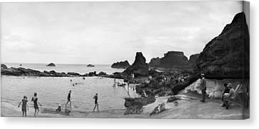 Bathing At Dunbar Canvas Print by Alfred Hind Robinson