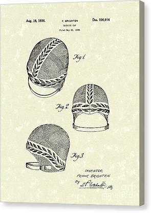 Cap Canvas Print - Bathing Cap 1936 Patent Art by Prior Art Design