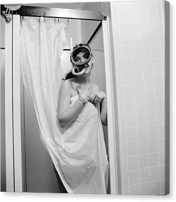 Bathroom Diving Canvas Print by Sherman