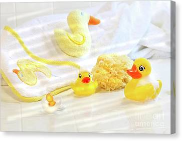 Bathtime For Baby Canvas Print by Sandra Cunningham
